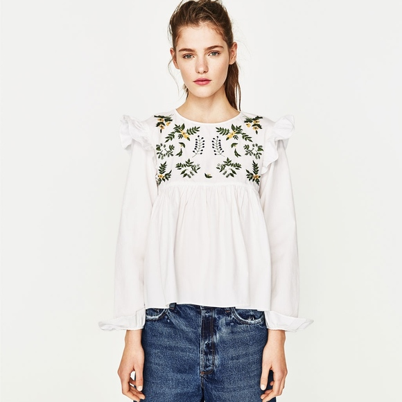 f9136b8ee4e904 Zara Tops | Floral Embroidered Blouse | Poshmark